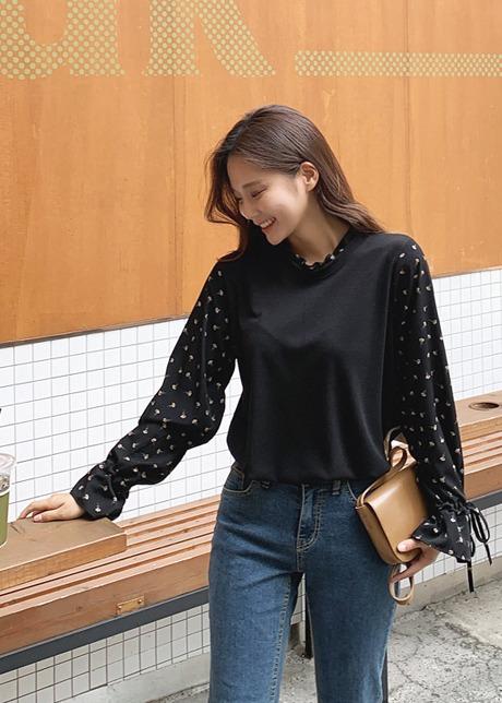 loloten-컴스 플라워배색 니트티셔츠♡韓國女裝上衣