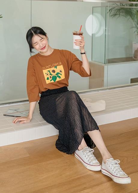 loloten-케런 도트 주름 롱 스커트♡韓國女裝裙