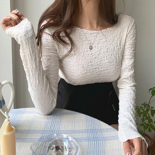 jnroh-트링 주름 링클 물결 크롭 티셔츠(아이보리,베이지,블랙)♡韓國女裝上衣