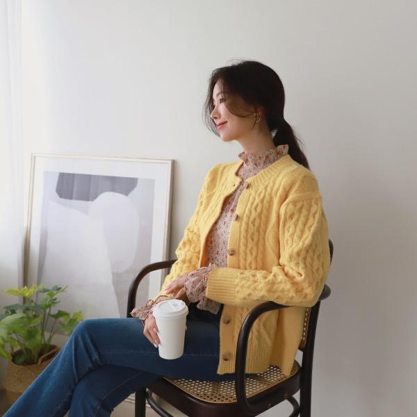shehj-스프링 꽈배기 가디건♡韓國女裝外套