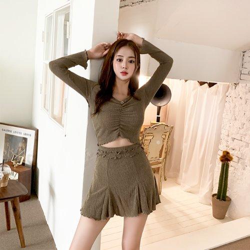 jnroh-제널 스모크 주름 셔링 오프티 스커트 투피스 세트(브라운,그레이,블랙)♡韓國女裝套裝
