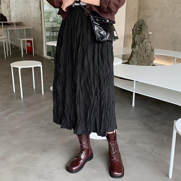 66girls-내추럴링클밴드롱SK♡韓國女裝裙