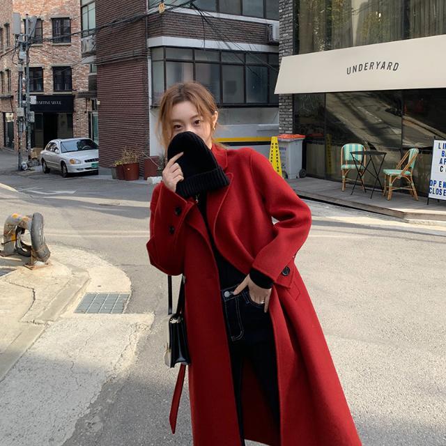 1015mk-레드 카라 롱 코트♡韓國女裝外套