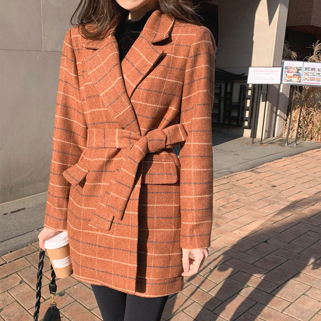 cherryville-[심플한매력의그녀 체크자켓]♡韓國女裝外套