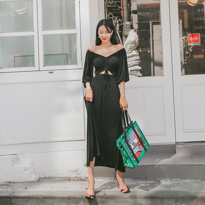 dabagirl-좋아셔링롱원피스♡韓國女裝連身裙
