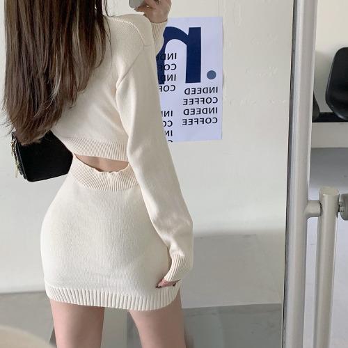 zanne-투썸 뒷트임 꽈배기 니트 원피스 - 잔느♡韓國女裝連身裙