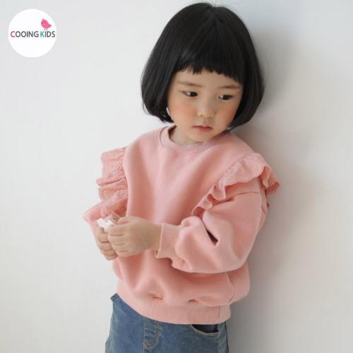 cooingkids-A메종레이스맨투맨♡韓國童裝上衣