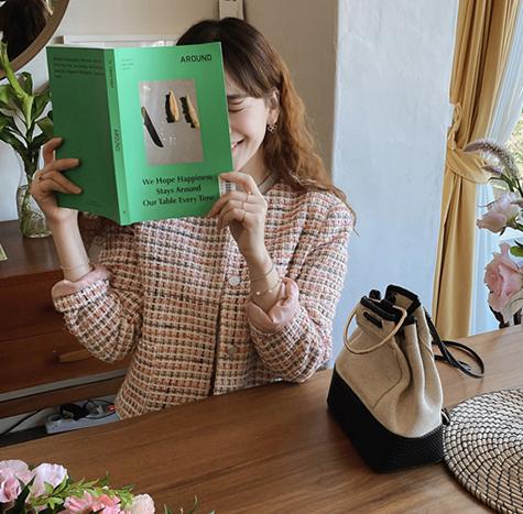 leelin-[프로미 포켓 트위드 자켓[size:F(55~66)]]♡韓國女裝外套