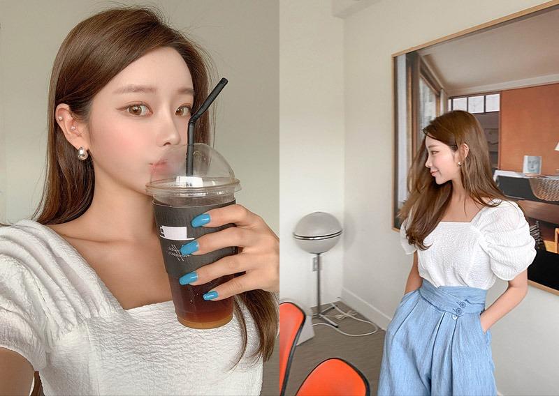 maybins-캐롯 셔링 블라우스♡韓國女裝上衣