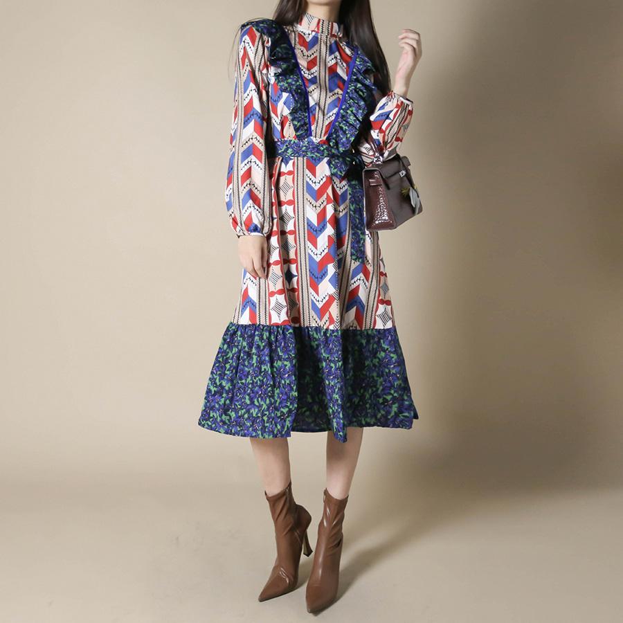 blancjo-브이넥 프릴 레트로 원피스_op04351♡韓國女裝連身裙