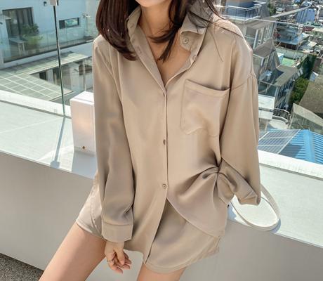 white-fox-[내추럴셔츠밴딩숏팬츠세트]♡韓國女裝套裝