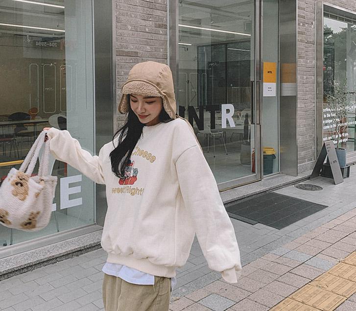 lylon-마우스양기모맨투맨♡韓國女裝上衣