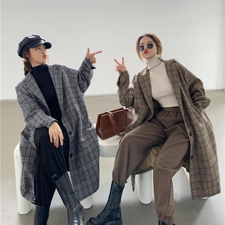 1015mk-[2컬러] 쿨톤 체크 롱 코트♡韓國女裝外套