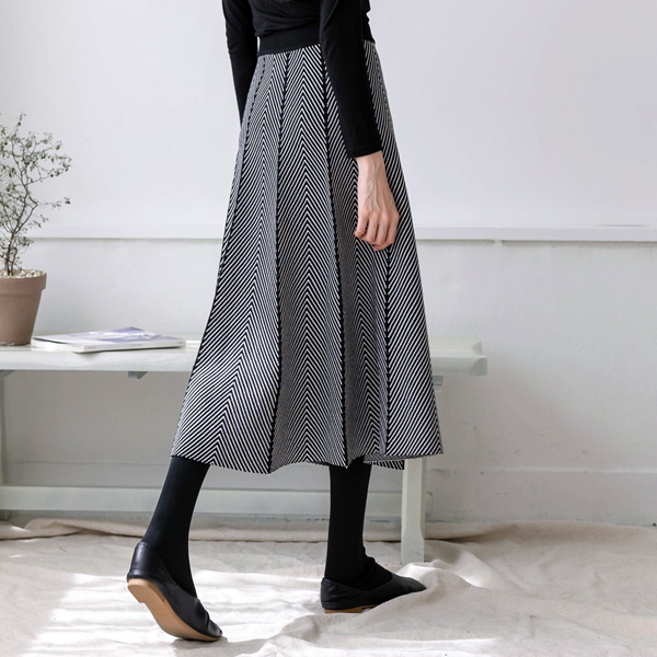 misscandy-[no.19529 빗살패턴 A라인 플레어 니트스커트]♡韓國女裝裙