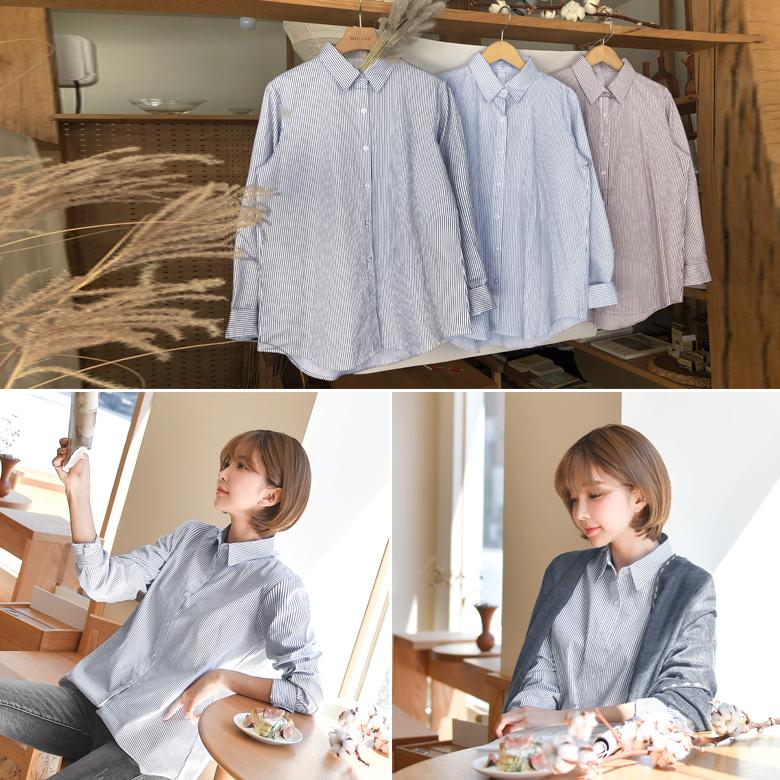 midasb-[홀로 스트라이프 카라 셔츠]♡韓國女裝上衣