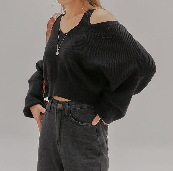 common-unique--싱글 오픈 숄더 크롭 니트♡韓國女裝上衣