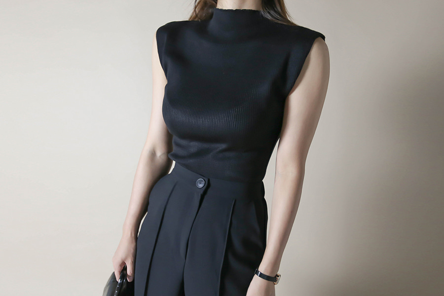 blancjo-골지 반폴라 슬리브리스 니트_KN04190♡韓國女裝上衣
