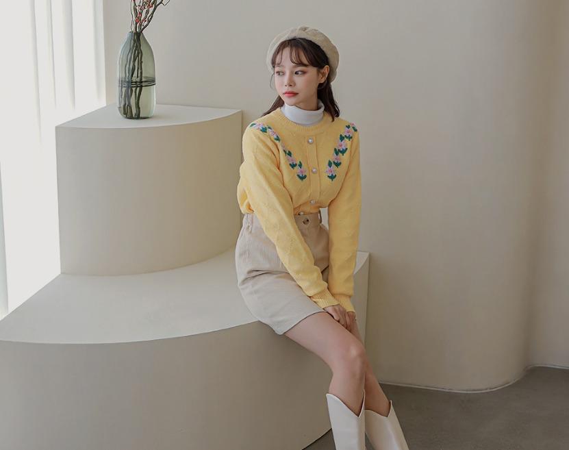 ririnco-엘로닝 플라워 자수 니트 가디건♡韓國女裝外套