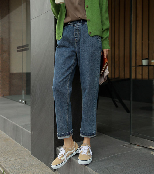 roompacker-룸페커 [[R]마일 비죠 밴딩 세미 배기팬츠]♡韓國女裝褲
