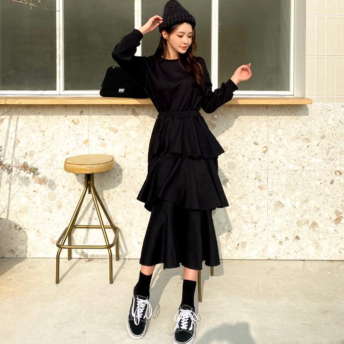 wingsmall-캔노바디(맨투맨+캉캉기모세트)♡韓國女裝套裝