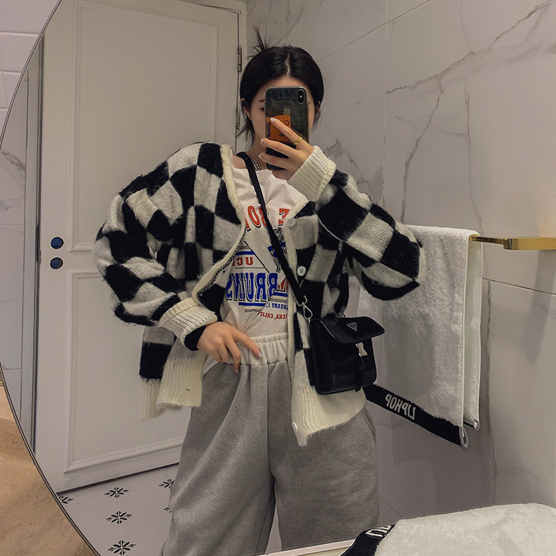 liphop-[브러쉬체크가디건[울8%]]♡韓國女裝外套