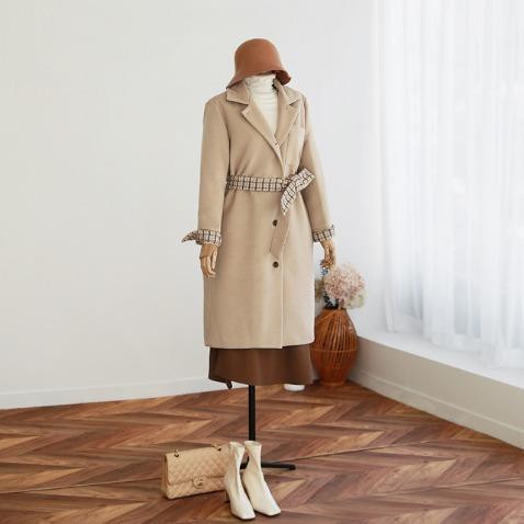 jooen-트위드 체크 배색 누빔 코트(55~통통66)♡韓國女裝外套