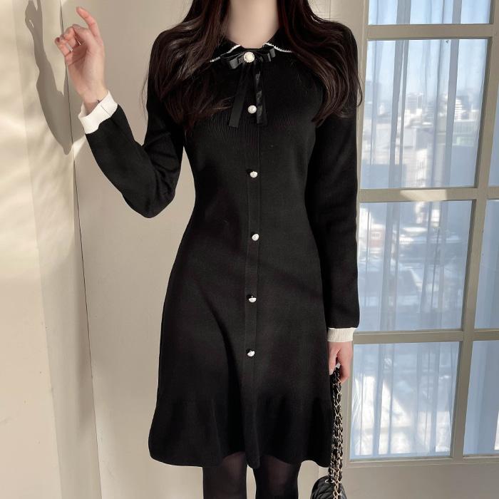 myfiona-(브롯치세트) 블랙리본 배색니트원피스 a1158 - 러블리 로맨틱룩 1위 쇼핑몰 피오나♡韓國女裝套裝