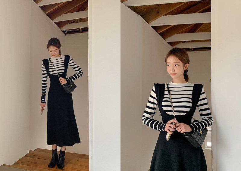 maybins-진트 서스펜더 원피스&티셔츠set♡韓國女裝套裝