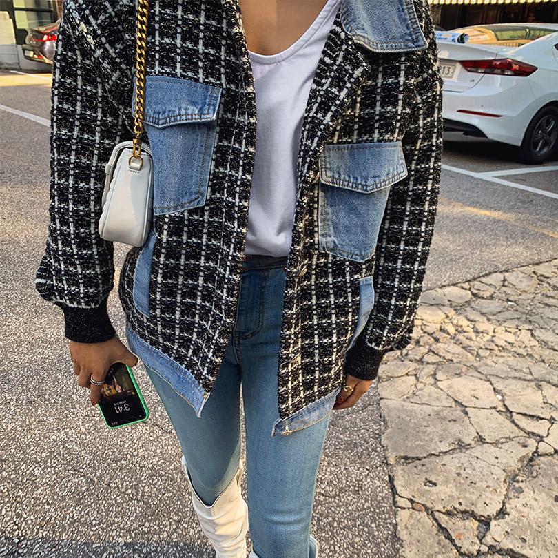 liphop-[트위드데님자켓]♡韓國女裝外套