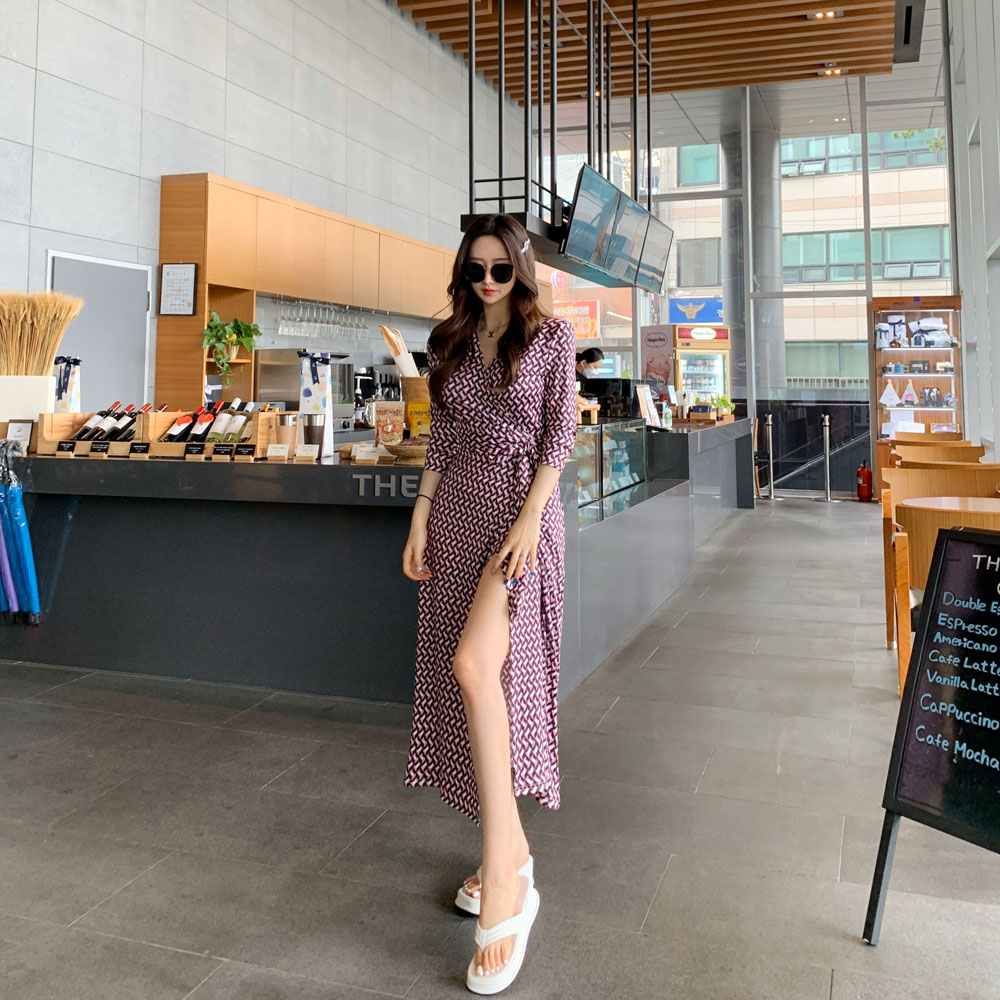 uinme-핑크립 랩 원피스♡韓國女裝連身裙
