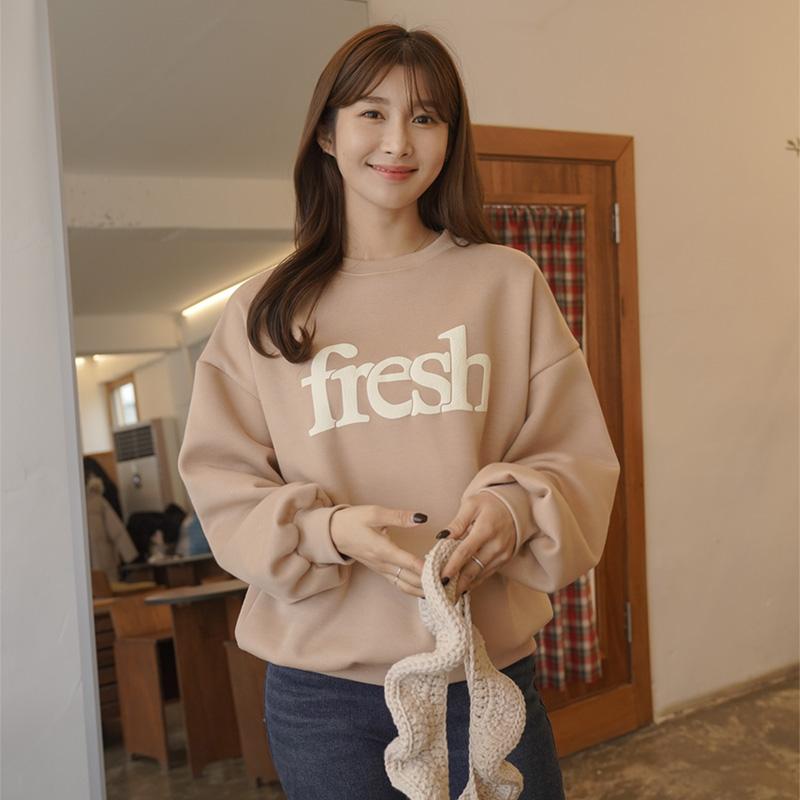 clicknfunny-[런프레쉬 기모맨투맨티]♡韓國女裝上衣