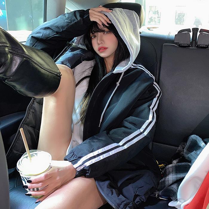 choper-두줄라인후드항공패딩♡韓國女裝外套