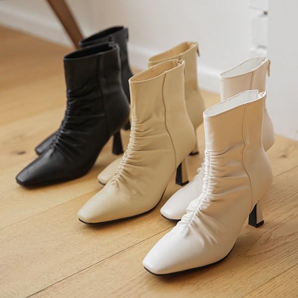 ode-[셔링 미니 스퀘어토 앵클부츠]♡韓國女裝鞋