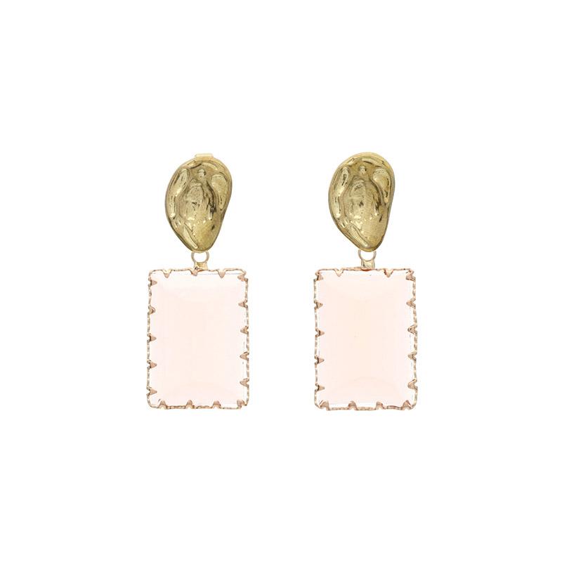 attrangs-ac3952 투명 컬러 포인트의 스퀘어 드롭 이어링 earring♡韓國女裝飾品
