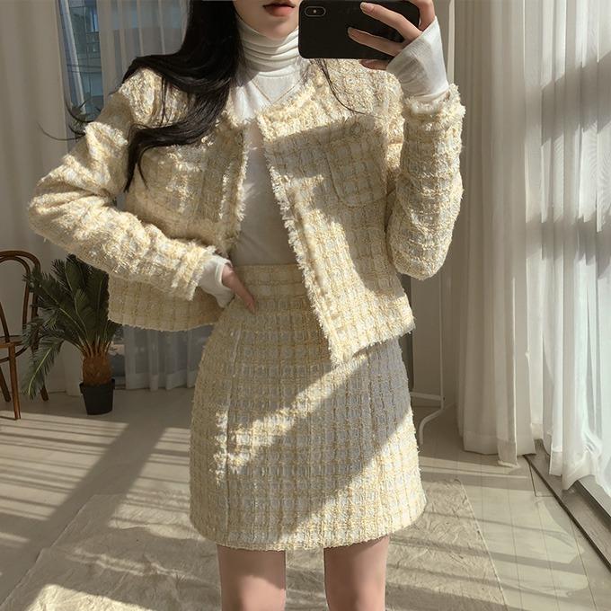 henique-[연말룩/하객룩]반짝거려 트위드 155cm 크롭 자켓 스커트 투피스 세트 별도 구매 (아이보리/블랙)♡韓國女裝套裝