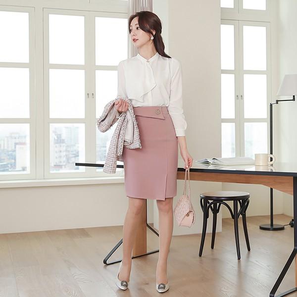 ode-[엘레나 골드버튼 언발 스카프 블라우스]♡韓國女裝上衣