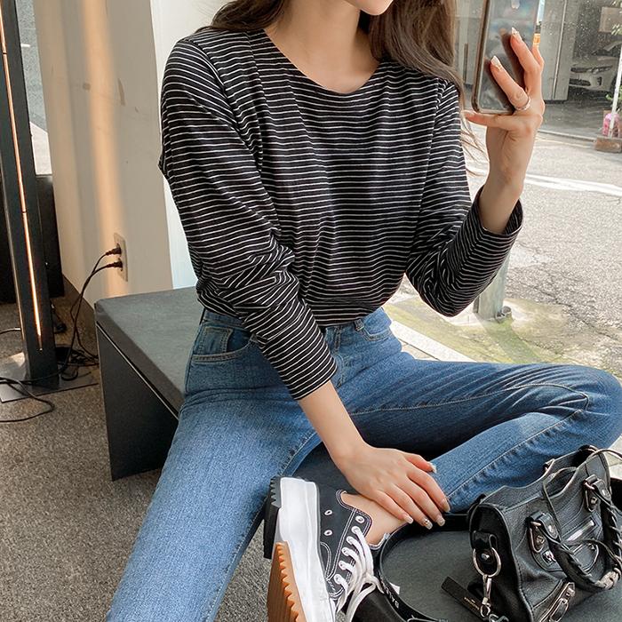 09women-[카블 단가라 라운드 티셔츠 50698]♡韓國女裝上衣