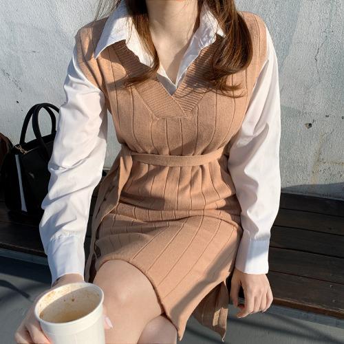 zanne-[LEXY] 레이민 셔츠 니트 원피스 세트 - 잔느♡韓國女裝套裝