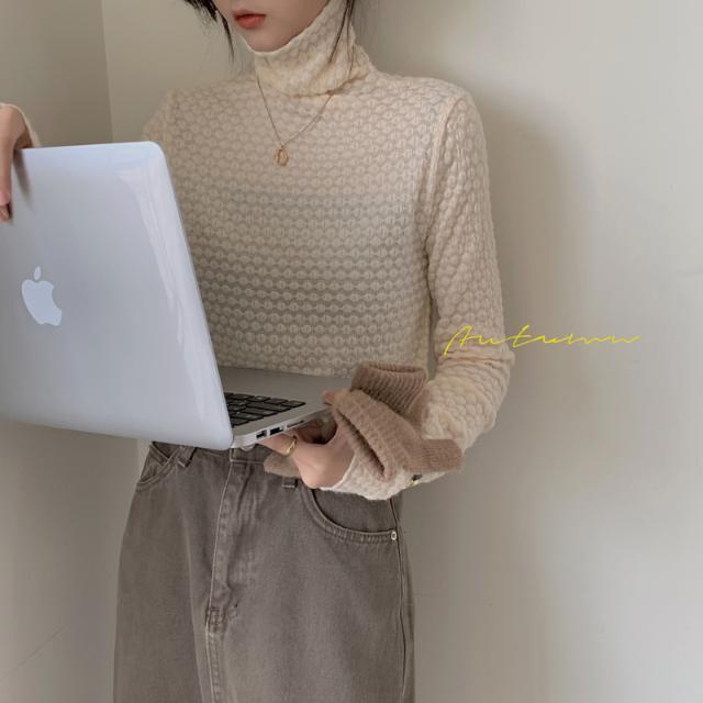 1015mk-패턴 목폴라 이너티♡韓國女裝上衣