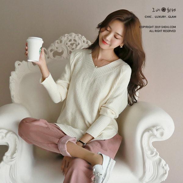 shehj-네베스 V라인 풀오버 스웨터♡韓國女裝上衣