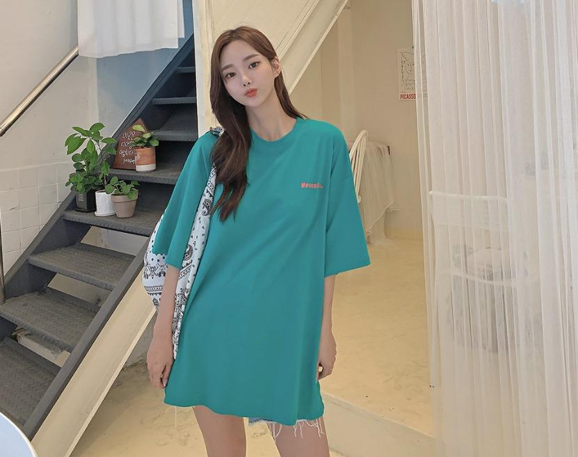 ririnco-팡팡컬러 루즈핏 레터링 티셔츠♡韓國女裝上衣