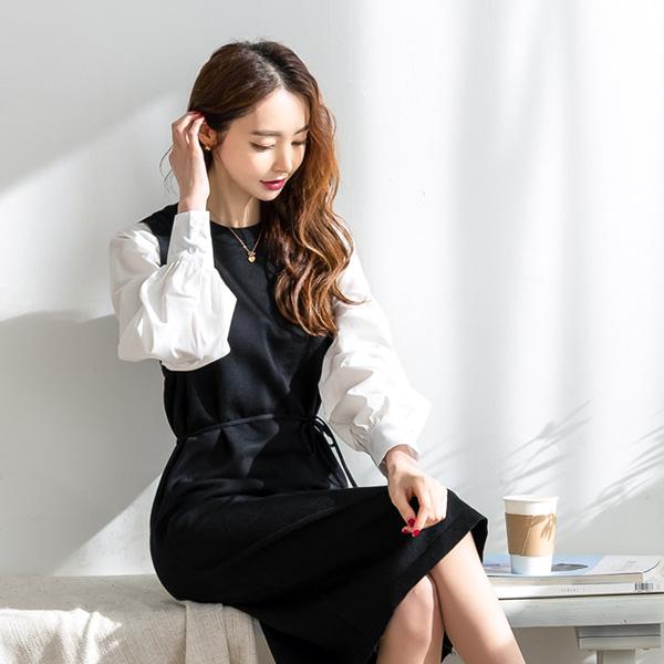 misscandy-[no.19919 셔츠소매 허리끈세트 니트원피스]♡韓國女裝套裝