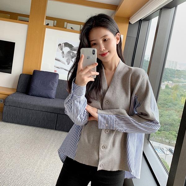 benito-안젤라 셔츠 가디건 데일리룩/꾸안꾸룩/셔츠가디건/가을가디건/신상가디건/배색가디건/간절기가디건♡韓國女裝外套