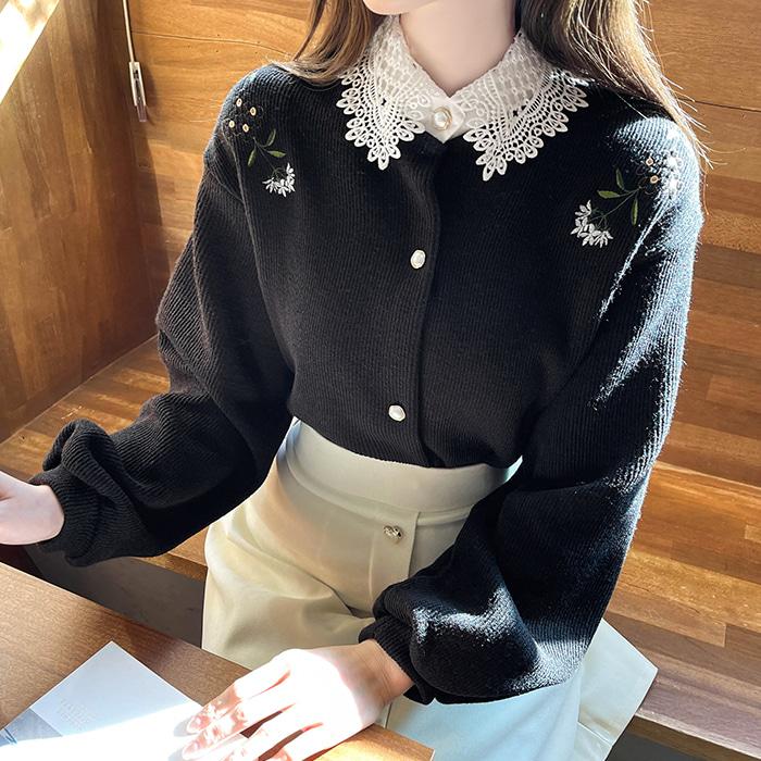 myfiona-이드로자수 레이스카라 가디건 a1165 - 러블리 로맨틱룩 1위 쇼핑몰 피오나♡韓國女裝外套