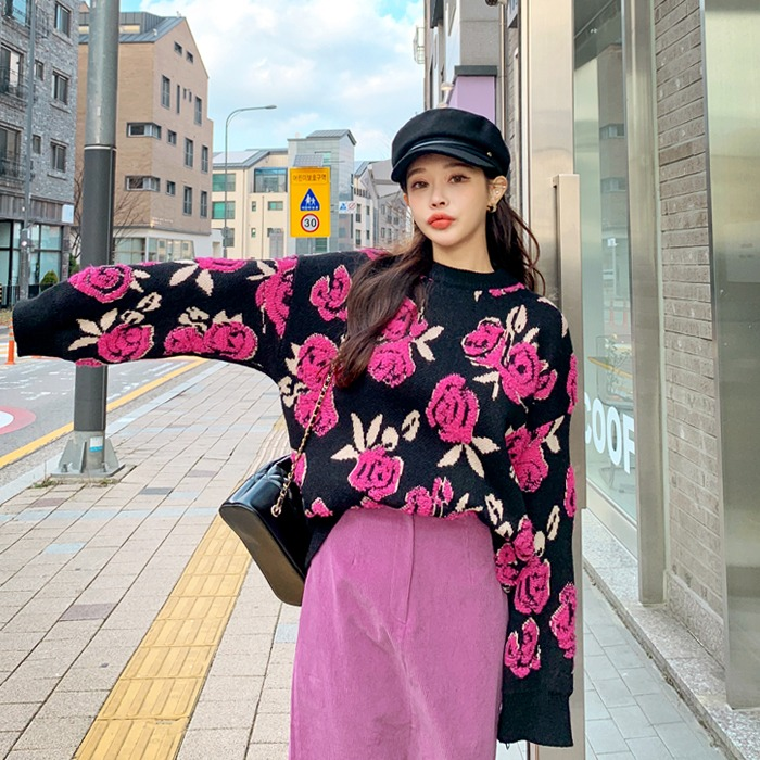deepny-디프니 애시플라워자수니트♡韓國女裝上衣