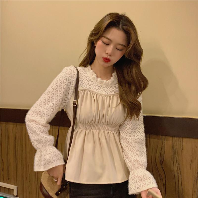 1015mk-레이스 패턴 블라우스♡韓國女裝上衣