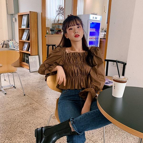 906studio-[기획특가] 큐리 주름블라우스♡韓國女裝上衣