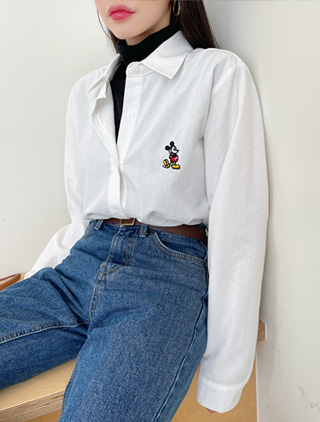 jstyleshop-[리던즈 미키자수 셔츠]♡韓國女裝上衣