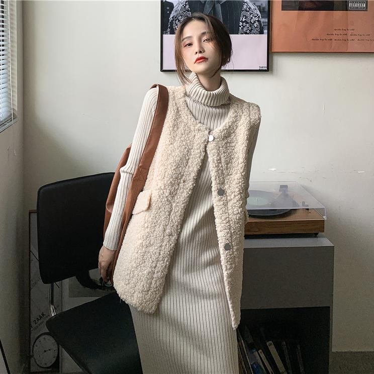 1015mk-뽀글이 버튼 베스트♡韓國女裝外套