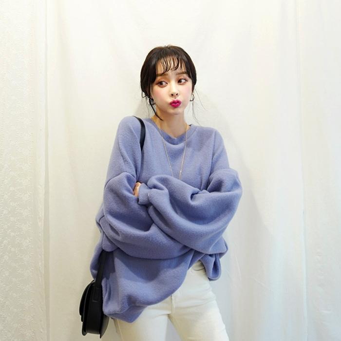 deepny-푸딩보송박시 맨투맨 디프니♡韓國女裝上衣